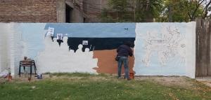 El Mural de Malvinas está en pleno desarrollo